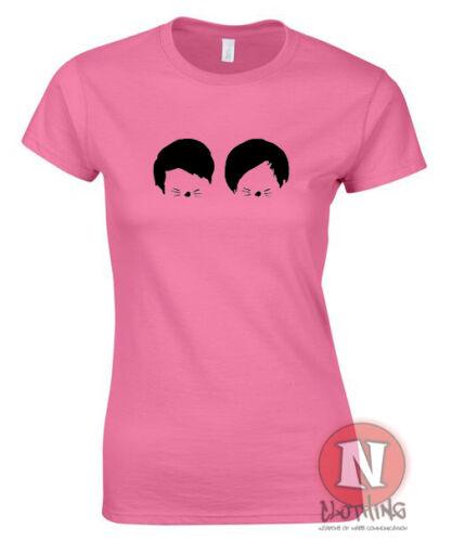 Dan et phil chats moustaches design femmes ajusté t-shirt danisonfire vloggers