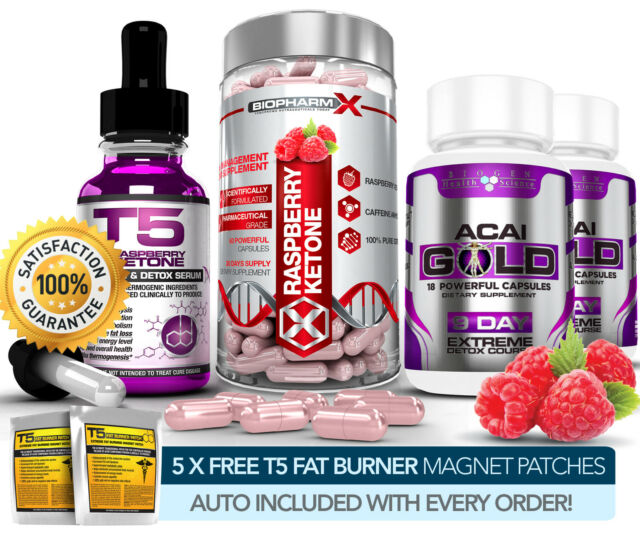 RASPBERRY KETONE CAPSULES + SERUM + ACAI GOLD SLIMMING / DIET & DETOX PILLS++