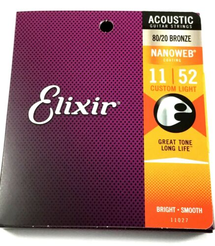 Elixir Guitar Strings  80//20 Bronze Nanoweb Custom Light 11-52