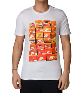 Nike-Men-039-s-NSW-Vintage-Shoebox-T-Shirt-834636-100-WHITE-ORANGE-BLACK