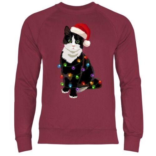 Katze Weihnachtsbaum Lichterkette Weihnachten Herren Sweatshirt