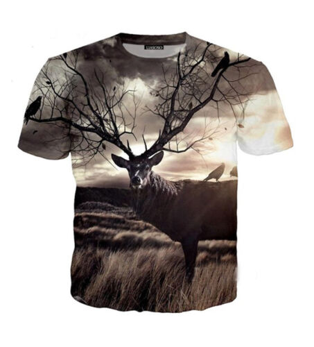 New Women Men Casual 3D T-Shirts Short Sleeve Tops Deer Print Tee Fashion Shirt