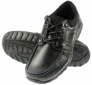Kids Black Leather Red Tape Lace Junior