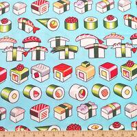 By Yard- Please Enjoy Sushi Fabric Asian Japan Alexander Henry 8411a Light Blue