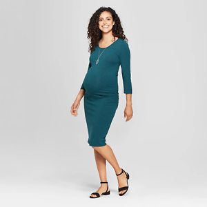 Isabel-Maternity-by-Ingrid-amp-Isabel-Teal-Heather-3-4-Sleeve-Shirred-Dress-SMALL