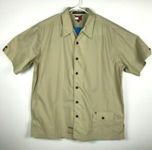 cac5391100b Image is loading Tommy-Hilfiger-Mens-Short-Sleeve-Utility-Shirt-Button-