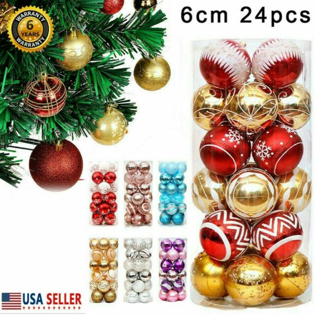 16X6CM Xmas Tree Balls Baubles Glitter Hanging Xmas Party Ornament Home Decor
