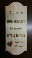 Personalized engraved wood sign to teacher at school daycare babysitter gift