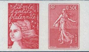 TIMBRE-FRANCE-AUTOADHESIF-2003-N-0036P-NEUF-Paire-Marianne-Roty-Luquet