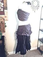 Black Cotton Cropped Masala Bloomers Ruched Skirt Steampunk Belly Dance Pants