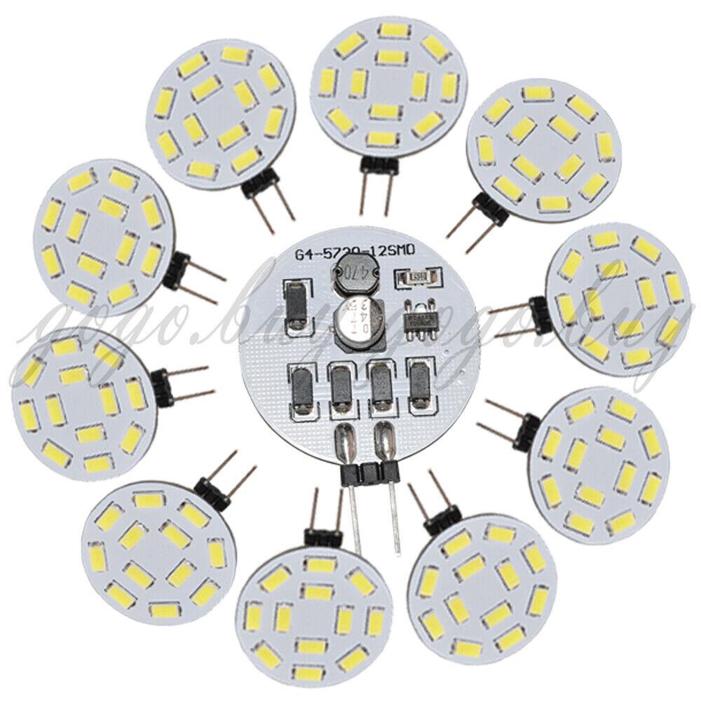 100 X High Quality G4 12 5730 SMD LED Bulb White 490LM Wide voltage 10V-30V AC