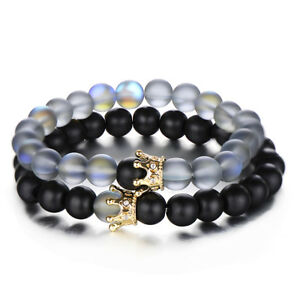 Fashion-Couple-His-And-Hers-Distance-Bracelets-Moonstone-Beads-CZ-Crown-Bracelet