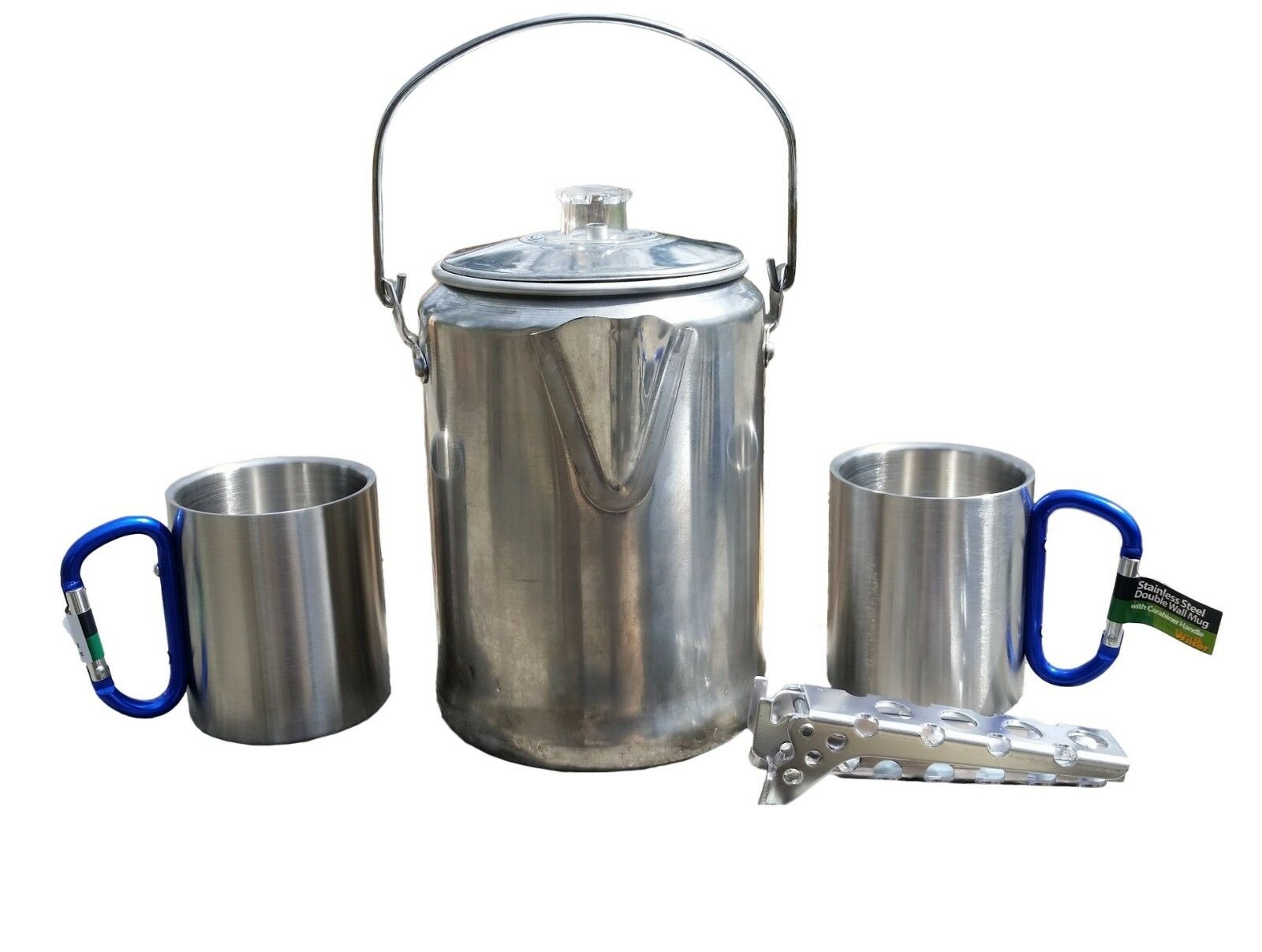 Camping Coffee Pot Set with 2 Carabiner Mugs and Hot Handle Pot Holder