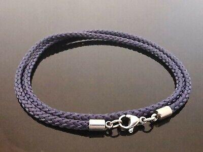 3mm Gris Cuero Azul Plata de ley 925 Collar o Correa 40.6cm 45.7cm 50.8cm 55.9cm