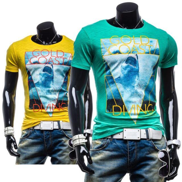BOLF Glo-Story 5384 T-Shirt Kurzarm Shirt Motiv Men Hemd Figurbetont 3C3 Slim