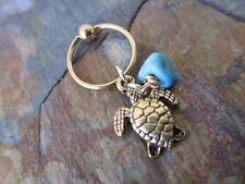 Gold Turtle Tortoise with Turquoise Tragus Piercing Captive Ring 14G 1/2""