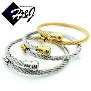 MEN-WOMEN-Stainless-Steel-Gold-Silver-Twisted-Cable-Adjustable-Bangle-Bracelet
