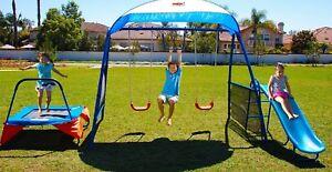 Metal Swing Set Monkey Bars Swings Slide Trampoline Outdoor Backyard