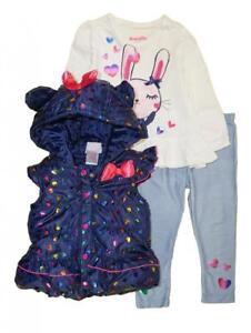 e300f709 Nannette Toddler Girls Navy Heart Vest 3pc Legging Set Size 2T 3T 4T ...