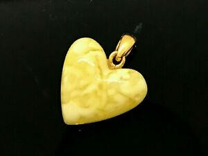 Amber-PENDANT-HEART-Natural-Baltic-Amber-Carved-Love-Silver-925-Gold-Plate-12649