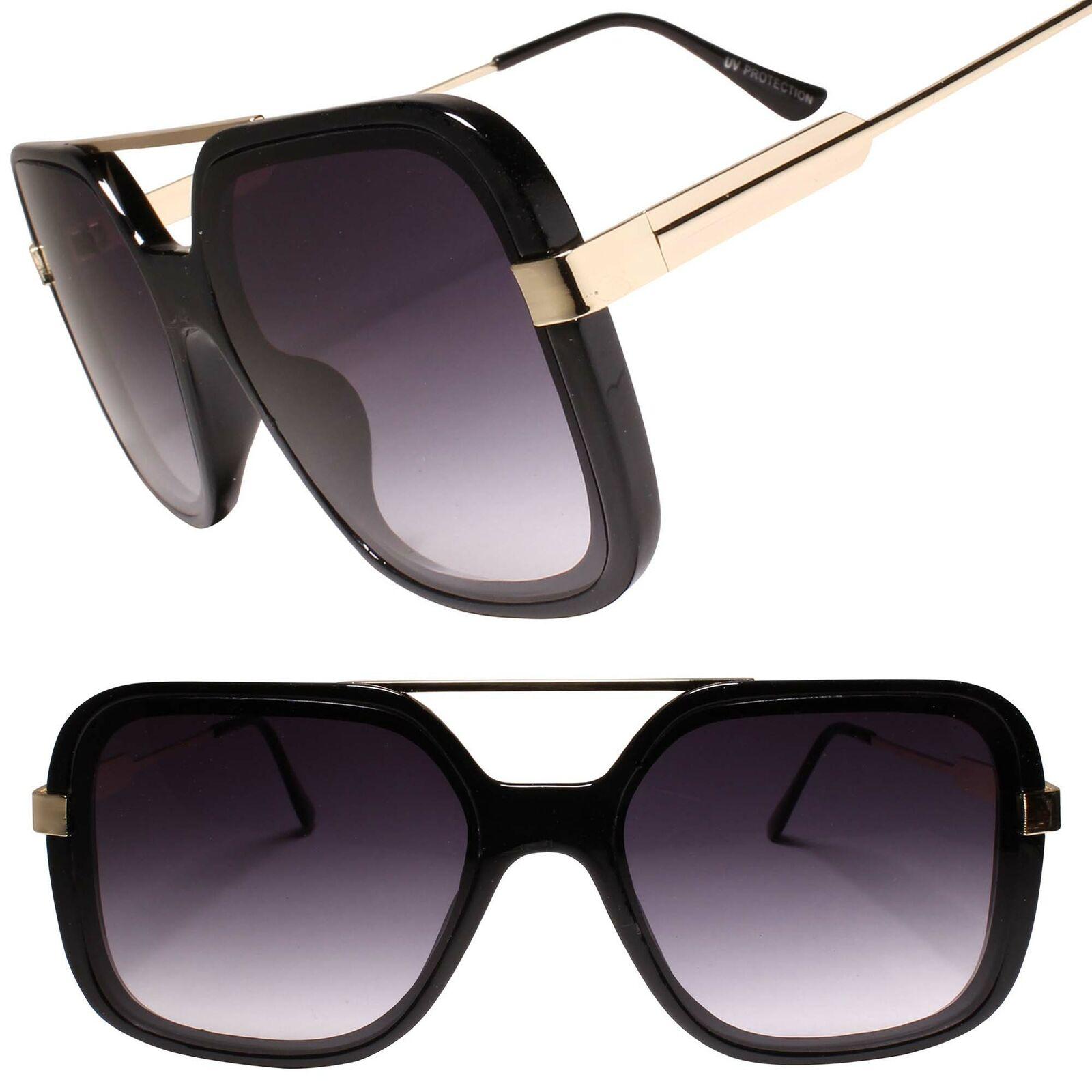 Designer Luxury Oversized XXL Gorgeous Stylish Square Black & Gold Sunglasses