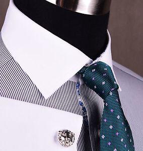Thin-Navy-Blue-Contrast-Cuff-Formal-Business-Dress-Shirt-Luxury-Designer-Fashion
