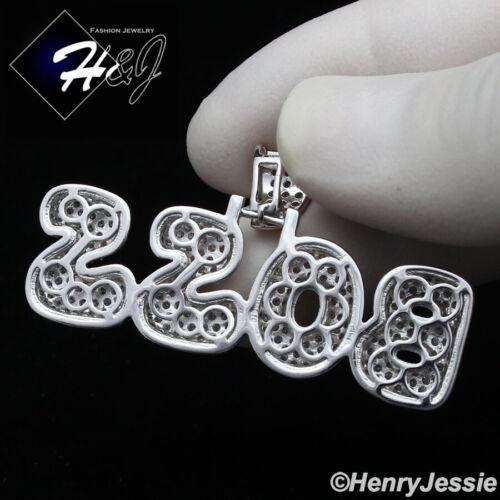 """MEN 925 STERLING SILVER ICY DIAMOND BLING /""""BOSS/"""" LETTER PENDANT*SP237"""