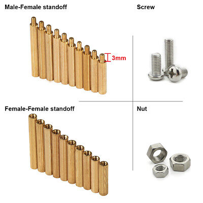 M2 Brass Knurled Thread Round Male Female Standoff Spacer Phillips Screw Hex Nut