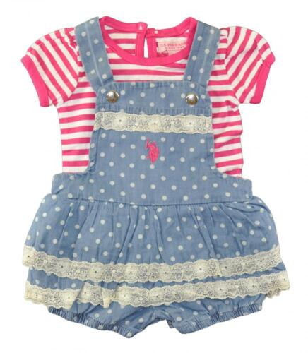 US Polo Assn Infant Girls Striped Top /& Chambray Romper Size 3//6M 6//9M $38
