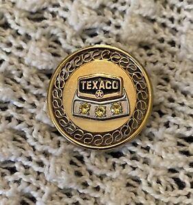 Vintage Texaco Gas Oil Employee Service Award Round Pin 12K GF 3 Yellow Stones