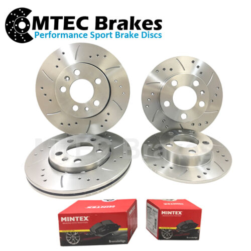 BMW 5 E39 530i 09//00-04//04 Drilled Grooved Front Rear Brake Discs+Pads