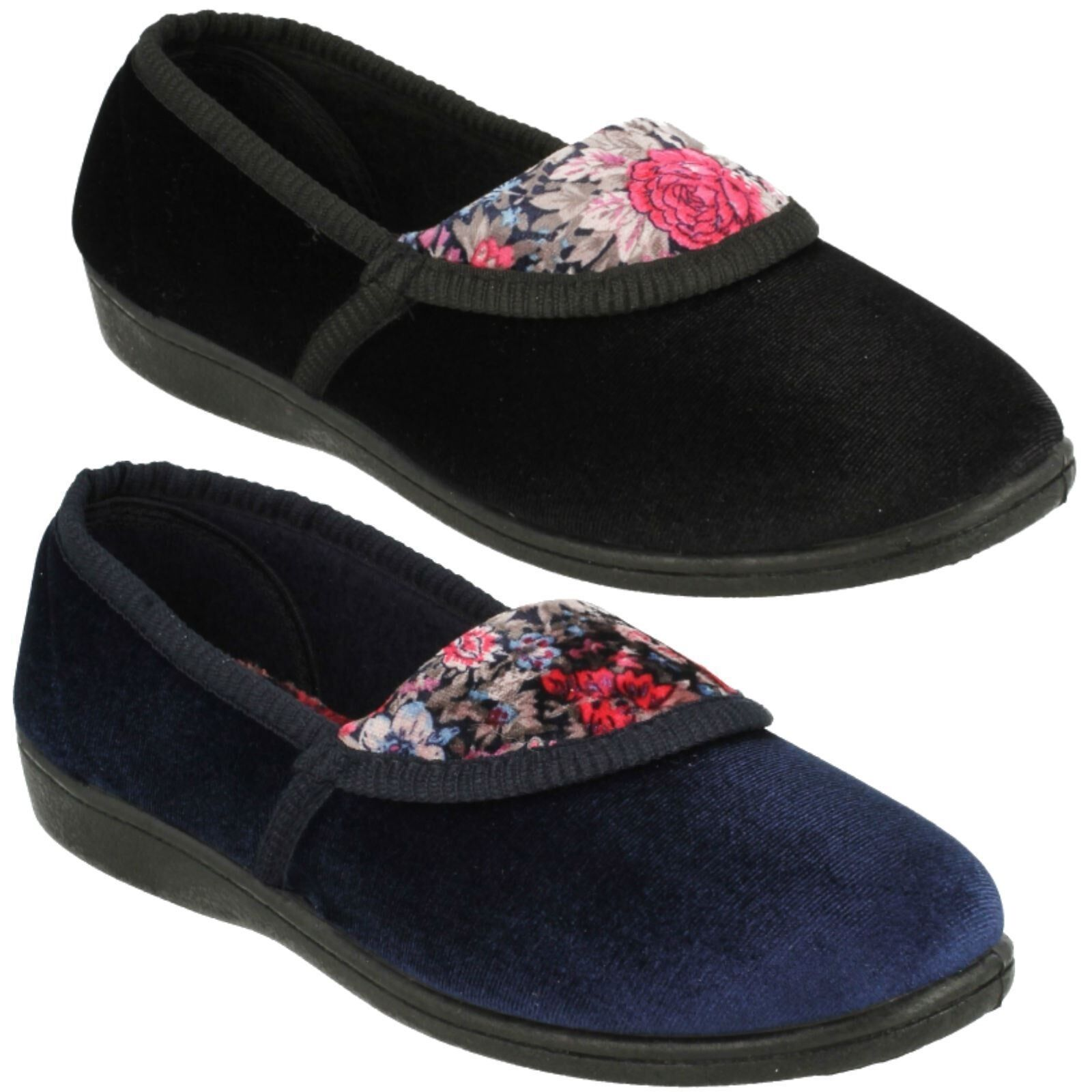 LADIES WOMENS SPOT ON BLACK NAVY SLIPPERS FLORAL DESIGN COMFY QUALITY SLIPPERS NAVY LS40 dd6de7