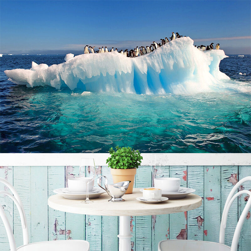 3D penguin Arctic ice Wall Paper wall Print Decal Wall Deco Indoor wall Mural