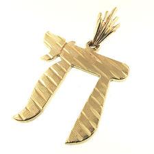 Chai Pendant 14k Gold Life Hebrew Symbol 5g Florentine Diamond Cut Alive Jewish