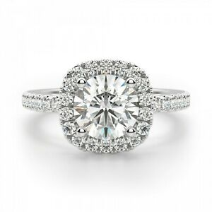 1.20 Ct Round Moissanite Engagement Ring Real 18K Solid White Gold ring Size 5 6