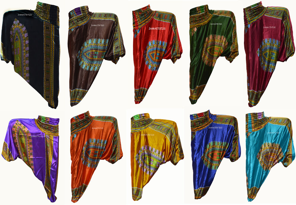 LOT OF 8 INDIAN BAGGY GYPSY HAREM PANTS YOGA MEN WOMEN AFRICAN PRINT TROUSER_B