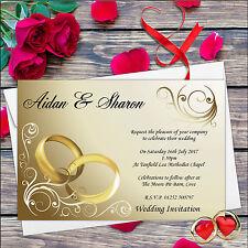 10 Anillos de oro Personalizado Día De Boda Invitaciones día y noche n 8 *