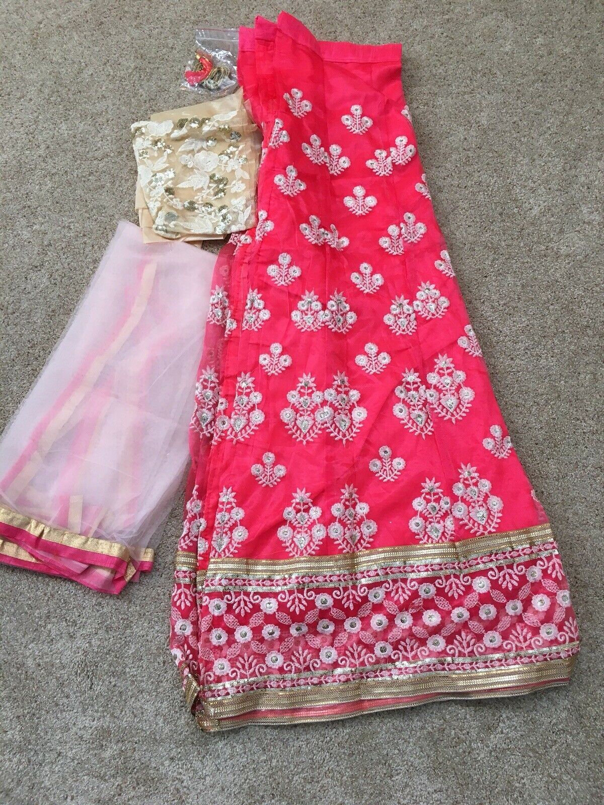 Pink Party Wear Unstitched Lehenga gown Choli Duppatta
