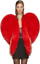 red heart Valentines heart hart coat celebrity faux fur jacket runway statement
