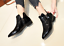 Womens-Ankle-Boots-Pointy-Toe-Slip-On-Patent-Leather-Buckle-Low-Block-Heel-Size thumbnail 3