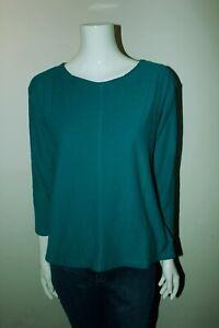 White-Stuff-algodon-con-textura-verde-Cuello-Redondo-Camisa-Blusa-Prenda-para-el-torso-Manga-3-4-12