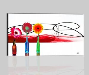 Quadri moderni dipinti a mano olio su tela rosso bianco for Quadri moderni fiori dipinti a mano