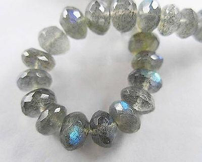 30 Labradorite Facet Rondelle Beads 5-6 mm.