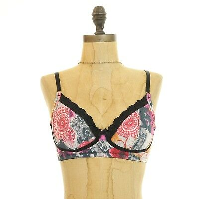 Intimates & Sleep Hanky Panky Bra Size 32b Bralette Wire Free Floral Lace Trim Pink Black Euc B98 Exquisite Craftsmanship;