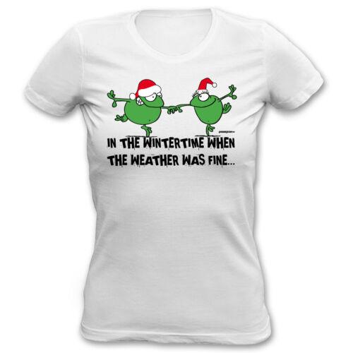 Weihnachts T-Shirt Damen lustige Frösche  Motiv T-Shirt Geschenkidee Nikolaus