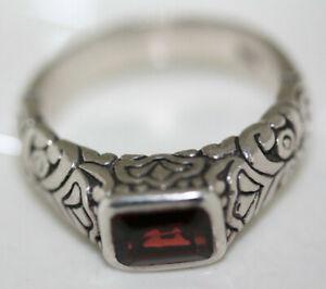 Fab-Celtic-925-Sterling-Silver-1-CT-Emerald-Cut-Garnet-Filigree-Modern-Ring-Sz-7