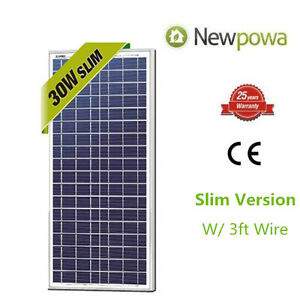 NewPowa High Quality 30W 12V Polycrystallin<wbr/>e Solar Panel RV Camping Waterproof