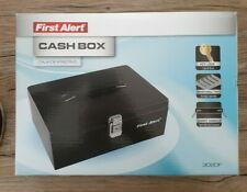 First Alert Cash Box 7 Compartment Tray Key Lock Carry Handle 3020f