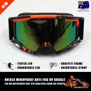 100% NEW Tinted Lens Motocross Dirt Bike Ski Snow Orange Graffiti Frame Goggles