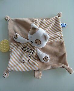 L6-DOUDOU-PLAT-CHAT-MOTS-D-039-ENFANTS-P-039-TIT-MIAOU-beige-blanc-marron-clair-NEUF